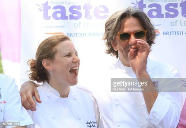 Chefs Angela Hartnett and Giorgio Locatelli at the Taste of London food festival in Regents Park central London