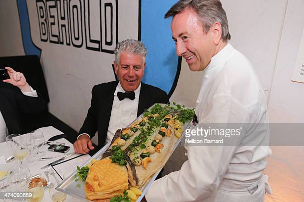 Chefs Anthony Bourdain and Daniel Boulud attend the Ocean Liner dinner hosted by Anthony Bourdain Frederic Morin David McMillan Andrew Carmellini...