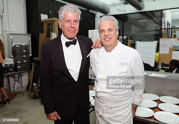 Chefs Anthony Bourdain and Eric Ripert attend Ocean Liner dinner hosted by Anthony Bourdain Frederic Morin David McMillan Andrew Carmellini Eric...