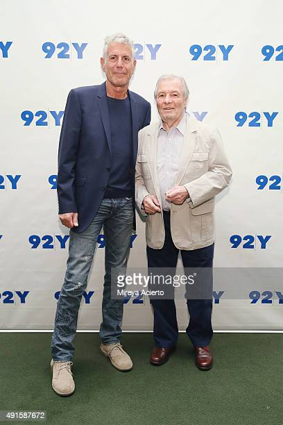 Chefs Anthony Bourdain and Jacques Pepin attend 92nd Street on October 6 2015 in New York City