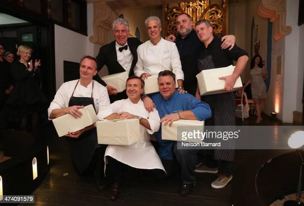 Chefs Anthony Bourdain Eric Ripert David McMillan Frederic Morin Andrew Carmellini Daniel Boulud and Francois Payard attend Ocean Liner dinner hosted...