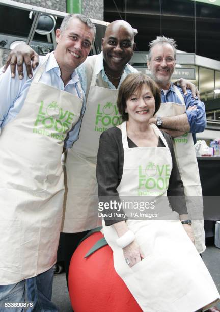 Chefs Barney Houghton Ainsley Harriott and Paul Merritt with Defra Minister Joan Ruddock at Borough Market to promote the WRAP campaign 'Love Food...