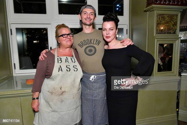 Chefs Beatrice Tosti Gabriele Corcos and Actress Debi Mazar attend a Dinner with Debi Mazar Gabriele Corcos and Beatrice Tosti part of the Bank of...