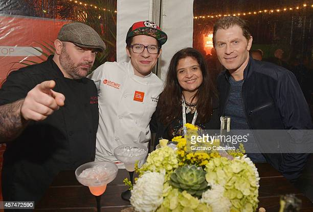 Chefs Chris Santos Justin Warner Alex Guarnaschelli and Bobby Flay attend the CASAMIGOS Tequila presents Tacos Tequila A Late Night Fiesta hosted by...