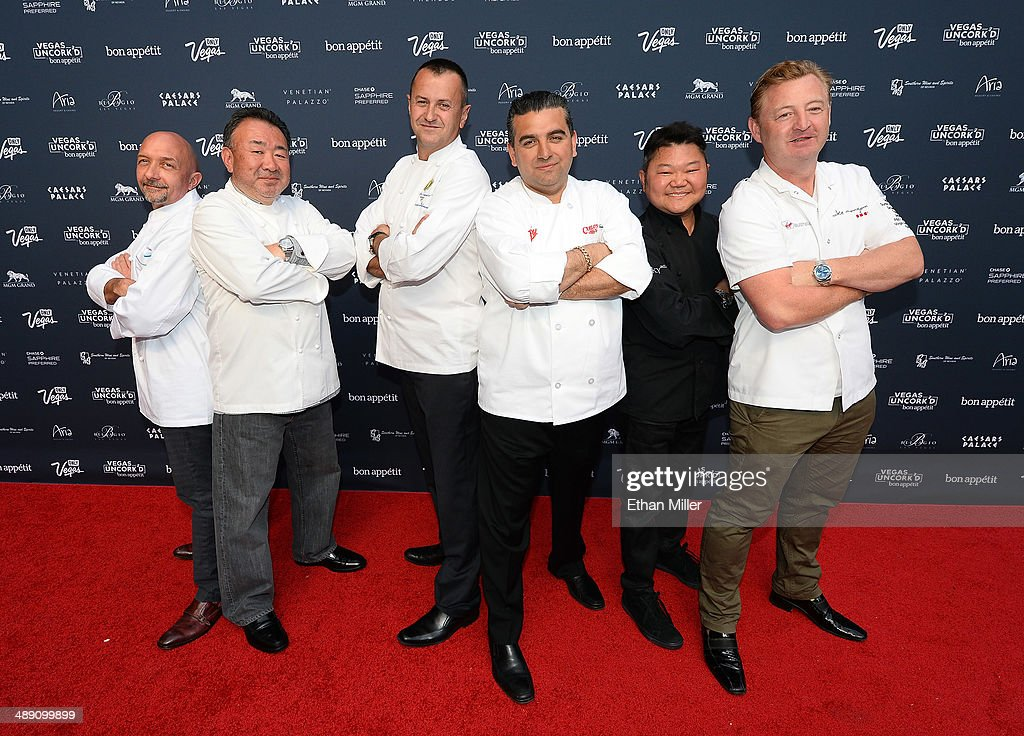 Chefs Christopher Christie, Tetsuya Waaku, Olivier Dubreuil, <a gi-track='captionPersonalityLinkClicked' href=/galleries/search?phrase=Buddy+Valastro&family=editorial&specificpeople=5810322 ng-click='$event.stopPropagation()'>Buddy Valastro</a>, Justin Quek and Luke Mangan attend Vegas Uncork'd by Bon Appetit's Grand Tasting event at Caesars Palace on May 9, 2014 in Las Vegas, Nevada.