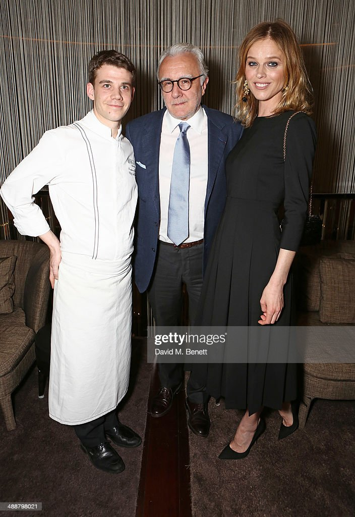 Chefs Damien Leroux, Alain Ducasse and Eva Herzigova attend the launch of Alain Ducasse's Rivea restaurant at The Bulgari Hotel on May 8, 2014 in London, England.