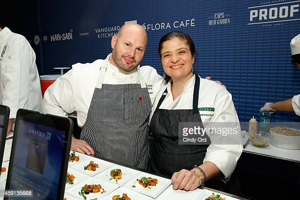 Chefs Dan Kluger of Vanguard Kitchen / Vanguard Market and Alex Guarnaschelli of Riviera pose with food at OTG and United Airlines host an exclusive...
