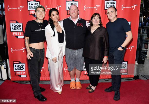 Chefs Danny Bowien Angie Mar Mario Batali Ina Garten and Jean Georges Vongerichten arrive at EAT Food Film Fest at Bryant Park on June 20 2017 in New...