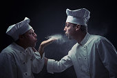 Chefs foodfighting with flour