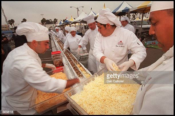 Chefs gather together to make the world's largest souffle July 21 2000 outside the Santa Monica Civic Auditorium in Santa Monica CA Chef Rick...
