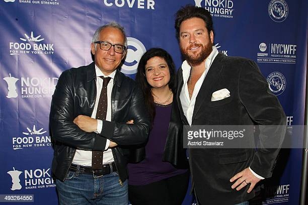 Chefs Geofrey Zakarian Alex Guarnaschelli and Scott Conant attend Best Bloody Mary Brunch Presented By Velocity Hosted By The Cast Of Chopped during...