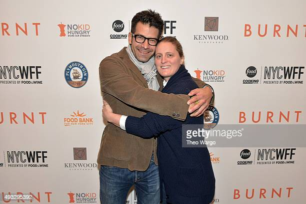 Chefs George Mendes and April Bloomfield attend the Private Screening Of BURNT QA Panel And Reception With Bradley Cooper And Sienna Miller during...