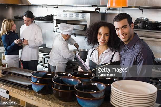 Chefs in restaurant kitchen