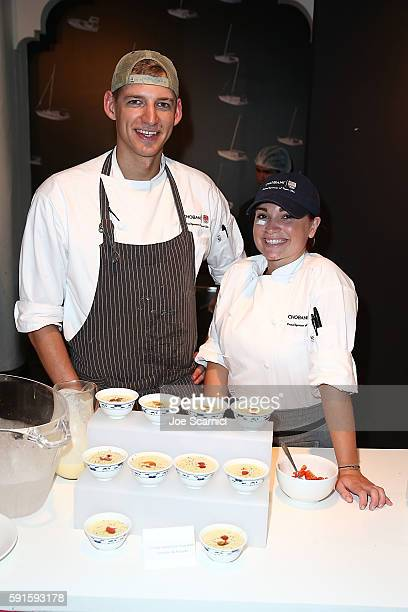 Chefs Jake Briere and Emily Hewett serve food prepared with Chobani Yogurt at the USA House at Colego Sao Paulo on August 5 2016 in Rio de Janeiro...