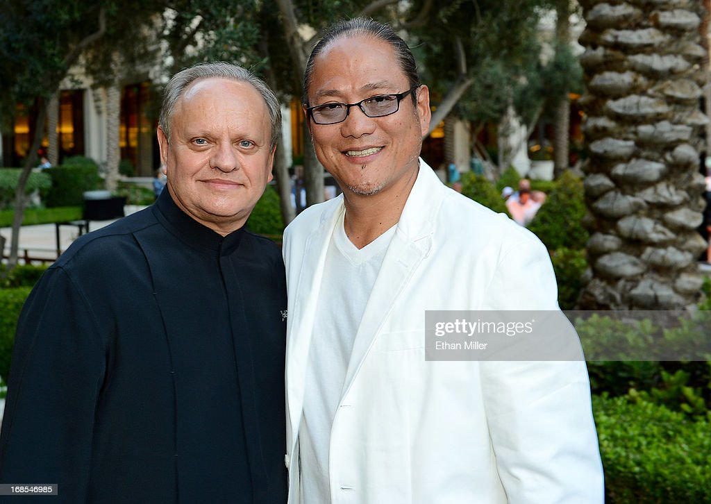 Chefs Joel Robuchon (L) and Masaharu Morimoto appear at Vegas Uncork'd by Bon Appetit's Grand Tasting event at Caesars Palace on May 10, 2013 in Las Vegas, Nevada.