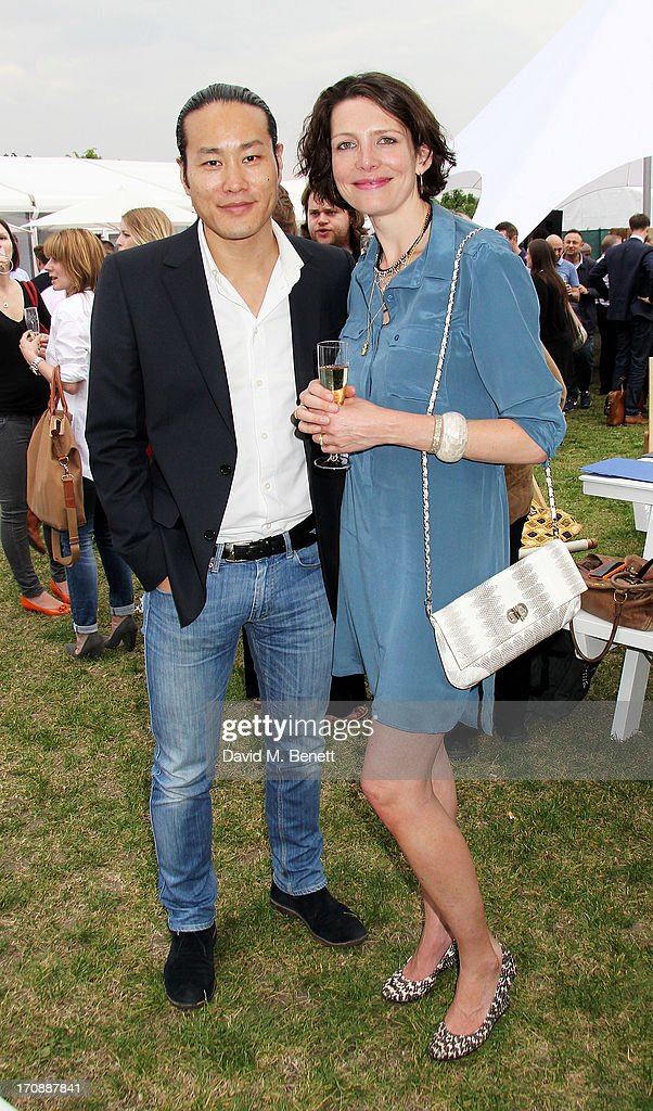Chefs Jun Tanaka (L) and Thomasina Miers attend the VIP Preview for 'Taste of London' at Regent's Park on June 19, 2013 in London, England.