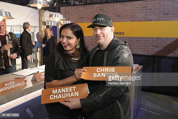 Chefs Maneet Chauhan and Chris Santos attend Rooftop 'Chopped' during the Food Network Cooking Channel New York City Wine Food Festival presented by...