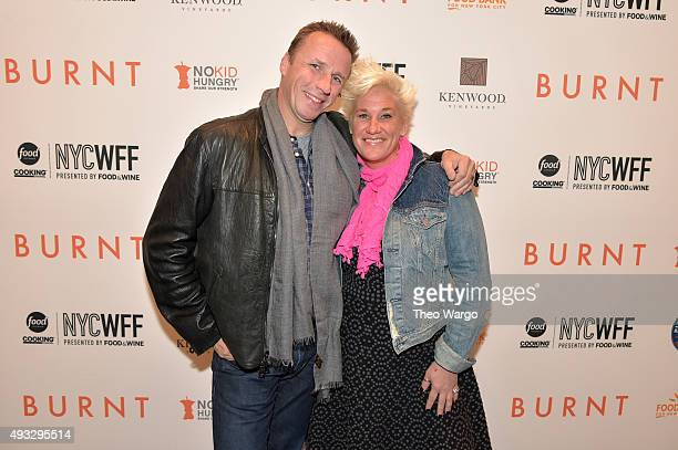 Chefs Marc Murphy and Anne Burrell attend the Private Screening Of BURNT QA Panel And Reception With Bradley Cooper And Sienna Miller during Food...