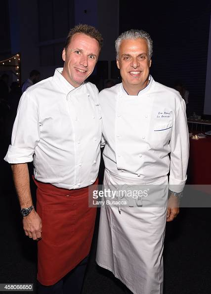 Chefs Marc Murphy and Eric Ripert attend City Harvest's 20th annual Bid Against Hunger on October 29 2014 in New York City