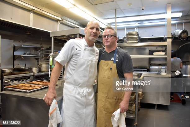 Chefs Marc Vetri and Paul Kahan pose in the kitchen during a Dinner with Paul Kahan and Marc Vetri part of the Bank of America Dinner Series...
