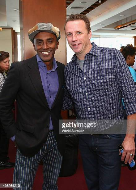 Chefs Marcus Samuelsson and Marc Murphy attend Best Bloody Mary Brunch Presented By Velocity Hosted By The Cast Of Chopped during Food Network...