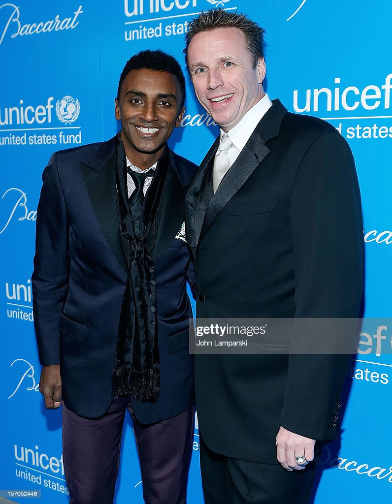 Chefs <a gi-track='captionPersonalityLinkClicked' href=/galleries/search?phrase=Marcus+Samuelsson&family=editorial&specificpeople=2143367 ng-click='$event.stopPropagation()'>Marcus Samuelsson</a> and Mark Murphy attend the UNICEF Snowflake Ball 2012 at Cipriani 42nd Street on November 27, 2012 in New York City.