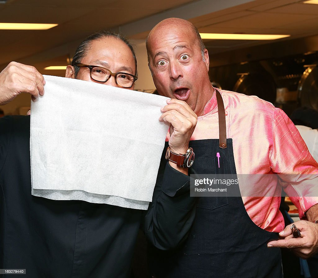 Chefs Masaharu Morimoto (L) and Andrew Zimmern attend the 2013 Dinner For A Better New York at Riverpark Restaurant on March 6, 2013 in New York City.