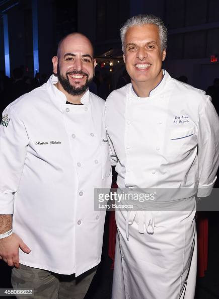 Chefs Matthew Katakis and Eric Ripert attend City Harvest's 20th annual Bid Against Hunger on October 29 2014 in New York City
