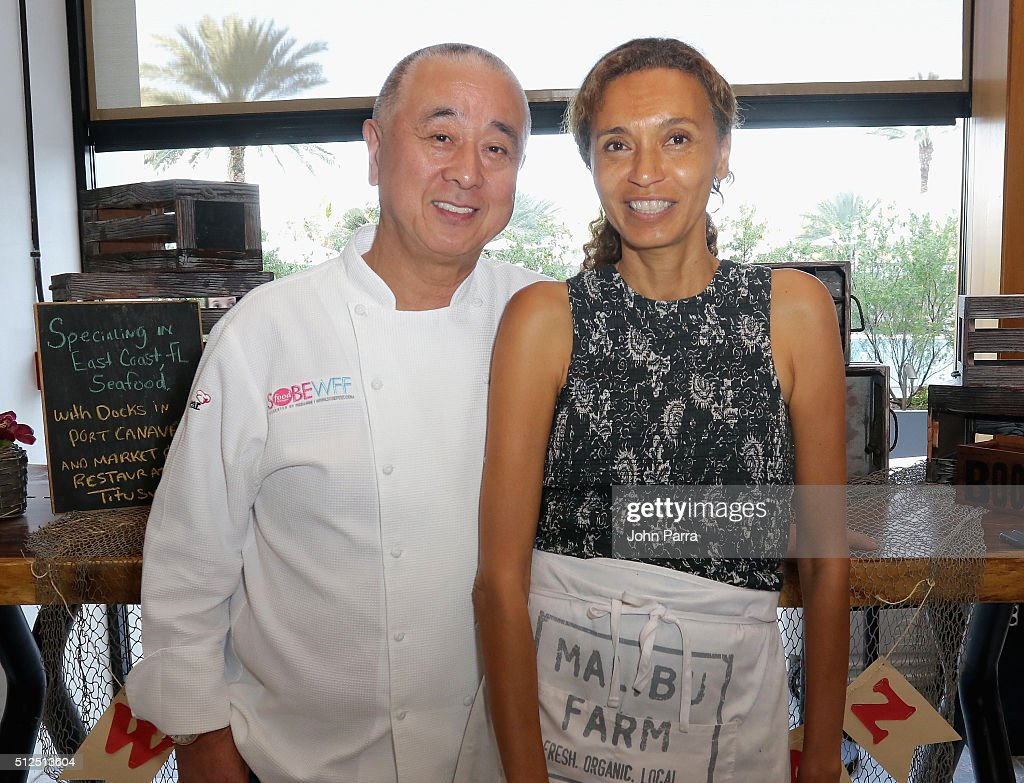 Chefs <a gi-track='captionPersonalityLinkClicked' href=/galleries/search?phrase=Nobu+Matsuhisa&family=editorial&specificpeople=4292658 ng-click='$event.stopPropagation()'>Nobu Matsuhisa</a> and Helene Henderson attends Nobu Miami & Malibu Farm Celebrate SOBEWFF At The Eden Roc Hotel at Nobu Miami Beach on February 26, 2016 in Miami Beach, Florida.