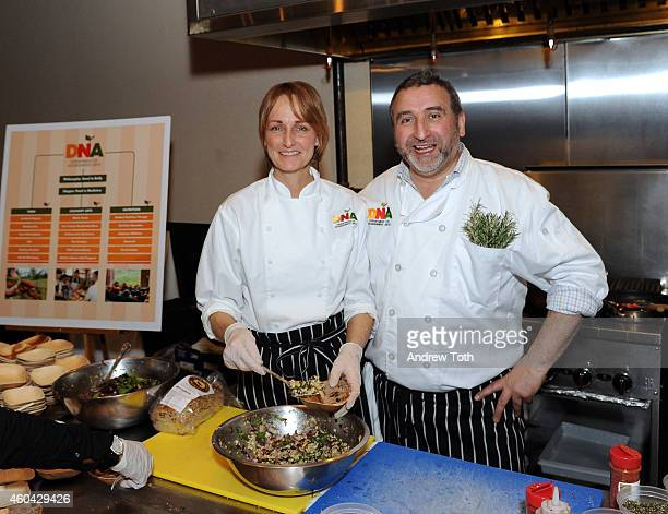 Chefs Peggy Parten and Cesare Casella attend SAVEUR Holiday Social at Astor Center on December 13 2014 in New York City