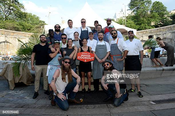 Chefs pose with Adam Sachs SAVEUR EditorInChief at The 7th Annual Saveur Summer Cookout at Boat Basin Cafe on June 21 2016 in New York City