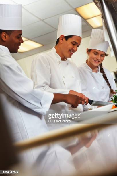 Chefs preparing dishes in a restaurant's commercial kitchen