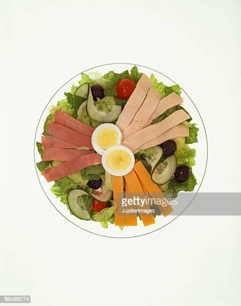 Chef's salad on glass plate