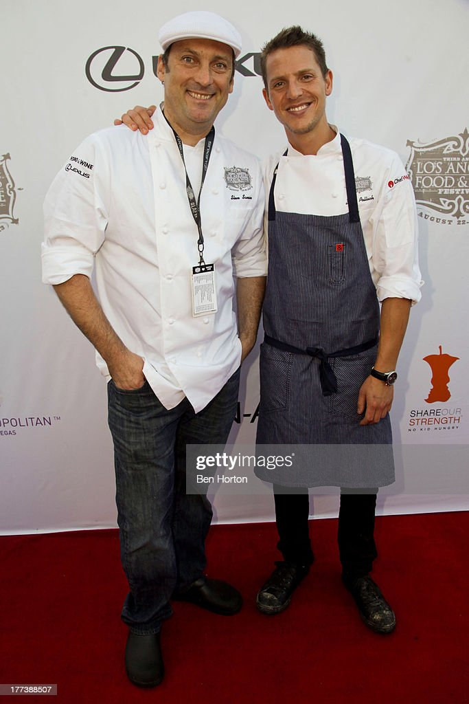 Chefs Steve Samson and Zach Pollack attend the Festa Italiana with Giada de Laurentiis opening night celebration of the third annual Los Angeles Food & Wine Festival on August 22, 2013 in Los Angeles, California.