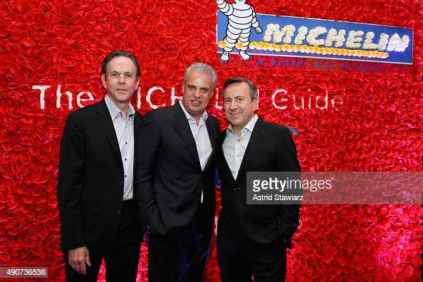 Chefs Thomas Keller Eric Ripert and Daniel Boulud attend the Michelin celebration of the 2016 Michelin Star Chef and restaurant recipients from New...