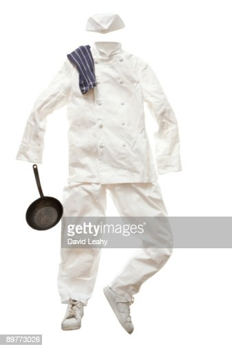 A chefs' whites and a frying pan
