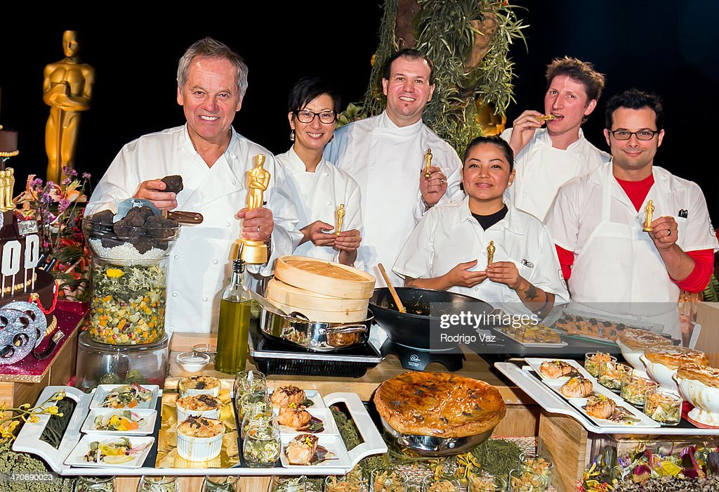 Chefs <a gi-track='captionPersonalityLinkClicked' href=/galleries/search?phrase=Wolfgang+Puck&family=editorial&specificpeople=157523 ng-click='$event.stopPropagation()'>Wolfgang Puck</a>, Della Gossett, Kamel Guechida, Romain Lenoir and Jason Lemonnier attend the 86th Annual Academy Awards - Governors Ball Press Preview at The Ray Dolby Ballroom at Hollywood & Highland Center on February 20, 2014 in Hollywood, California.