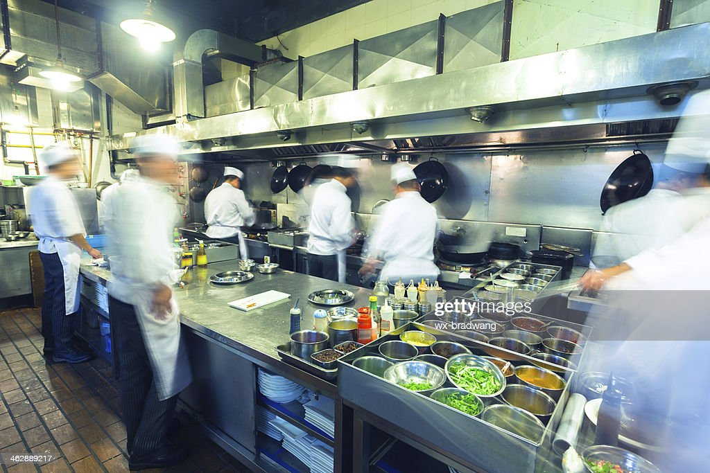 Chefs Working Busily In Chinese Kitchen : Stock Photo