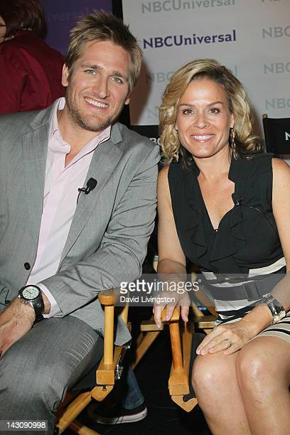 Chef/TV Personalities Curtis Stone and Cat Cora attend the NBCUniversal summer press day held at The Langham Huntington Hotel and Spa on April 18...
