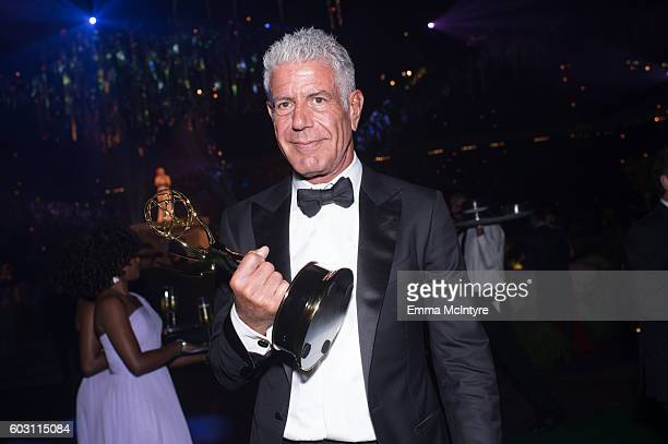 Chef/TV personality Anthony Bourdain attends the Creative Arts Emmy Awards Governors Ball at Microsoft Theater on September 10 2016 in Los Angeles...