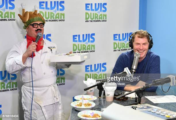 Chef/TV personality Bobby Flay and cohost Greg T at 'The Elvis Duran Z100 Morning Show' at Z100 Studio on November 20 2017 in New York City