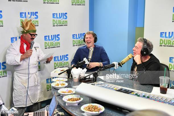 Chef/TV personality Bobby Flay talks to Greg T and host Elvis Duran at 'The Elvis Duran Z100 Morning Show' at Z100 Studio on November 20 2017 in New...