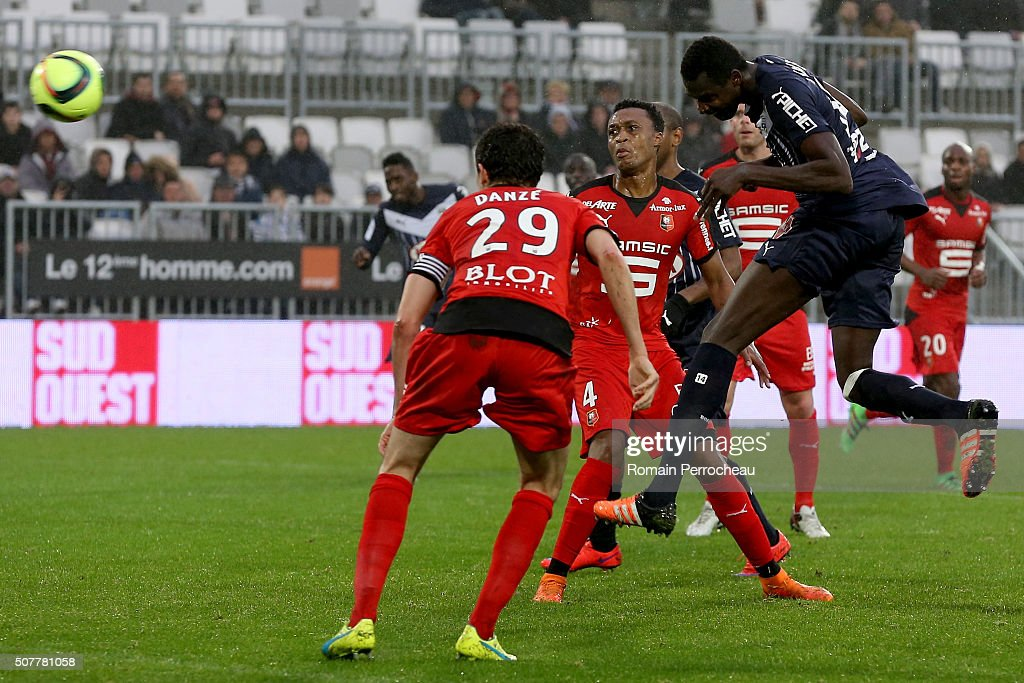 Cheick Diabate for Bordeaux scores a goal during French Ligue 1 match between FC Girondins de Bordeaux and Stade Rennais at Stade Matmut Atlantique...