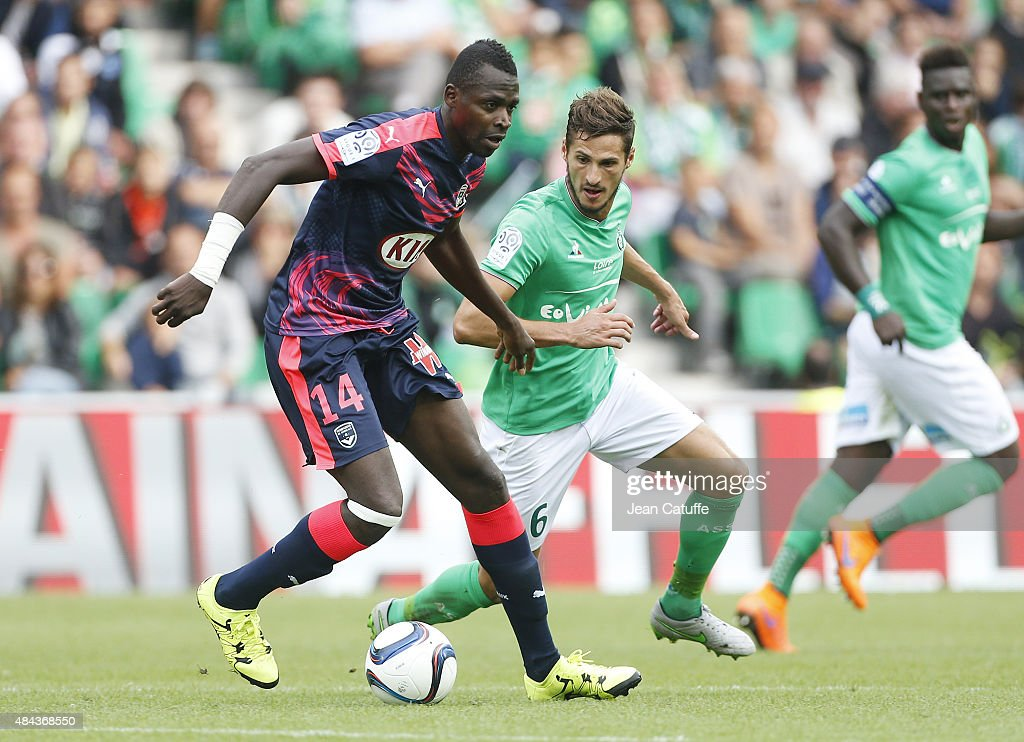 Cheick Diabate of Bordeaux and <a gi-track='captionPersonalityLinkClicked' href=/galleries/search?phrase=Jeremy+Clement&family=editorial&specificpeople=648908 ng-click='$event.stopPropagation()'>Jeremy Clement</a> of Saint-Etienne in action during the French Ligue 1 match between AS Saint-Etienne (ASSE) and FC Girondins de Bordeaux at Stade Geoffroy-Guichard on August 15, 2015 in Saint-Etienne, France.