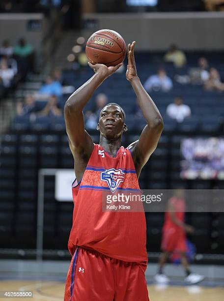 Cheick Diallo attempts the free throw during the National Basketball Players Association Top 100 Camp on June 19 2014 at John Paul Jones Arena in...