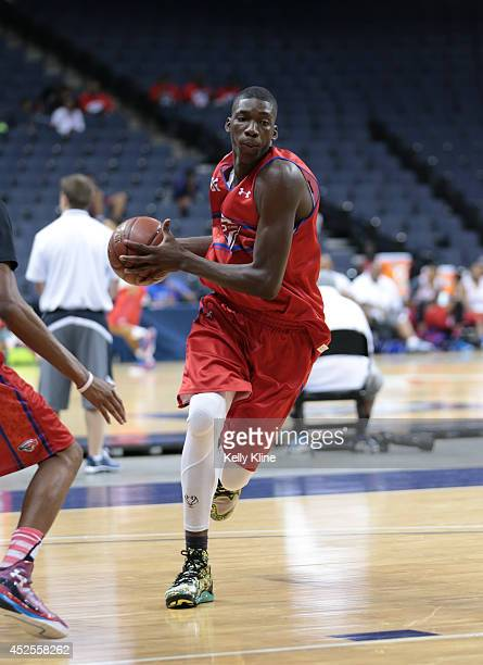 Cheick Diallo drives to the basket during the National Basketball Players Association Top 100 Camp on June 19 2014 at John Paul Jones Arena in...