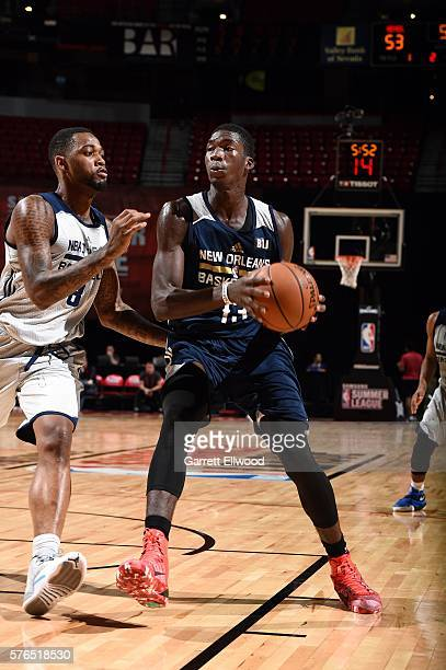 Cheick Diallo of New Orleans Pelicans handles the ball during the game against the NBA DLeague Select during the 2016 Las Vegas Summer League on July...