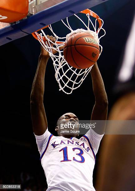 Cheick Diallo of the Kansas Jayhawks dunks during the game against the UC Irvine Anteaters at Allen Fieldhouse on December 29 2015 in Lawrence Kansas