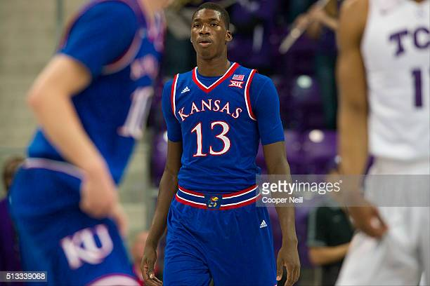 Cheick Diallo of the Kansas Jayhawks looks on against the TCU Horned Frogs on February 6 2016 at the Ed and Rae Schollmaier Arena in Fort Worth Texas