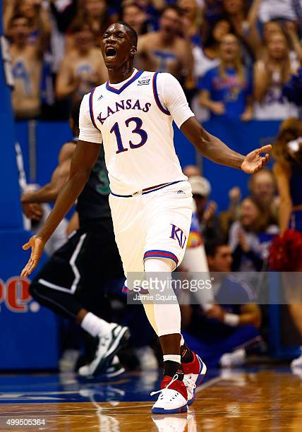 Cheick Diallo of the Kansas Jayhawks reacts after a dunk during the 2nd half of the game against the Loyola Greyhounds at Allen Fieldhouse on...